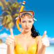 Happy woman on beach with thumbs up sign — ストック写真