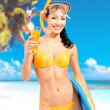 Happy beautiful woman enjoying at beach - Foto Stock