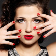 Beauty fashion woman with red nails and makeup — Stock Photo #19412283