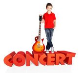 Boy with electric guitar with 3d text — Stock Photo