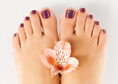 Female feet with beautiful pedicure after spa procedure — Stock Photo