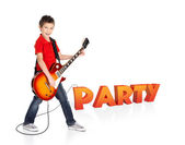 Boy plays on electric guitar with 3d text — Stock Photo