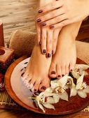 Weibliche füße spa salon über pediküre-verfahren — Stockfoto