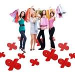 Gruppe von glücklichen Frauen mit Einkaufstaschen — Stockfoto