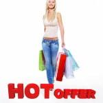 mujer feliz con bolsas de compras — Foto de Stock