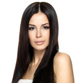 Beautiful woman with long straight hair — Stok fotoğraf