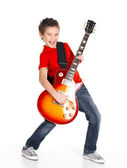 Biały chłopiec śpiewa i gra na gitarze elektrycznej — Zdjęcie stockowe