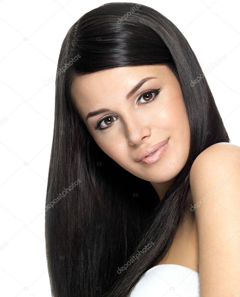 Blond Hairbeautiful Woman With Straight Long Hair Stock Image | Dark ...