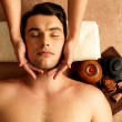 Foto de Stock  : Mhaving head massage in spsalon