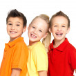 Portrait of the happy children isolated on white — Stock Photo