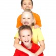 Portrait of the happy children isolated on white — Stock Photo #21859065