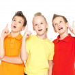 Portrait of the happy children point up by finger - isolated on — Stock Photo #21859151