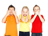 """Happy children doing """"See Nothing, Hear Nothing, Say Nothing... — Stock Photo"""