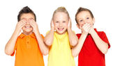"Happy children doing ""See Nothing, Hear Nothing, Say Nothing... — Stock Photo"