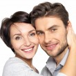 Closeup portrait of beautiful happy couple - isolated — Stockfoto