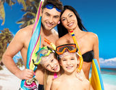 Happy fun family with two children at tropical beach — 图库照片