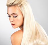 Blond woman with long straight hair — Stock Photo