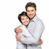 Portrait of happy couple isolated on white — Stock Photo