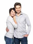 Porträtt av lyckliga par isolerade på vit — Stockfoto