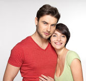 Portrait of happy couple at studio — Stock Photo
