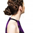 Rear view of woman with creative hairstyle — Stock Photo