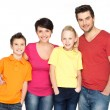 Happy family with two children on white — Stock Photo #22209871