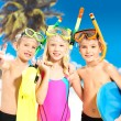 Stock Photo: Portrait of the happy children enjoying at beach