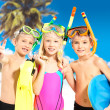 Portrait of the happy children enjoying at beach — Stock Photo