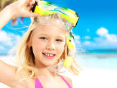 Portrait of the happy girl enjoying at beach — Stock Photo