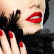 Photo of woman with fashion red nails and lips — Stock Photo