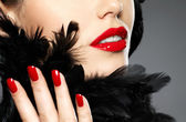 Photo of woman with fashion red nails and lips — Stockfoto