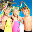 Portrait of the happy children enjoying at beach - Stock Photo