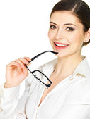 Happy smiling woman with glasses in hands — Stock Photo