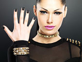 Beautiful face of fashion woman with black nails and bright make — Stock Photo