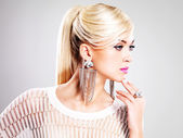 Beautiful woman with fashion makeup and white hairs — Stock Photo