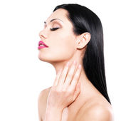 Woman cares of the skin neck — Stock Photo