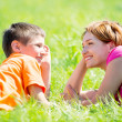 Happy mother and son in park — Stock Photo