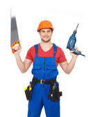 Portrait of manual worker with tools — Stock Photo