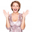 Portrait of surprised woman with positive emotions — Stock Photo