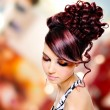 Face of beautiful woman with fashion hairstyle and glamour makeu — Stock Photo