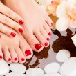 Beautiful female feet at spa salon on pedicure procedure — Stock Photo #32812879