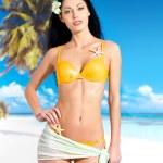 Woman with beautiful body in bikini at beach — Stock Photo #32813129