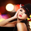 Sexy woman with bright red lips and fashionable hat — Stock Photo #32813147