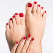 Closeup photo of a female feet with beautiful red pedicure — Stock Photo