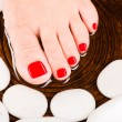 Beautiful female feet with red pedicure — Stock Photo