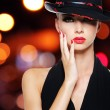 Glamour sexy woman with sexy beautiful red lips — Stock Photo