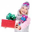 Stock Photo: Happy smiling woman giving a christmas gift