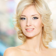 Clouseup face of beautiful woman with white hair — Stock Photo