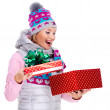 Photo of happy surprised woman with a christmas gift — Stock Photo