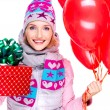 Closeup portrait of fun happy adult woman with red gift box and — Stock Photo